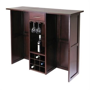 Pemberly Row Expandable Counter Home Wine Home Bar in Antique Walnut