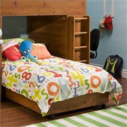 Pemberly Row Kids Lower Loft Bunk Twin Bed Frame Only in Sunny Pine