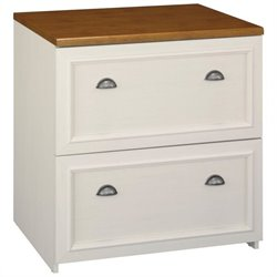 Pemberly Row 2 Drawer Lateral File Cabinet in Antique White and Tea Maple