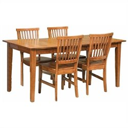 Pemberly Row 5 Piece Dining Set in Cottage Oak