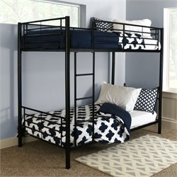 Pemberly Row Twin over Twin Metal Bunk Bed in Black Finish