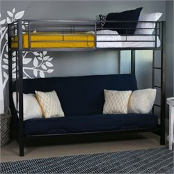 Pemberly Row Metal Twin over Futon Bunk Bed Frame in Black