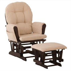 Pemberly Row Glider and Ottoman in Espresso and Beige
