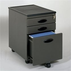 Pemberly Row 3 Drawer Metal Mobile Filing Cabinet in Pewter and Black