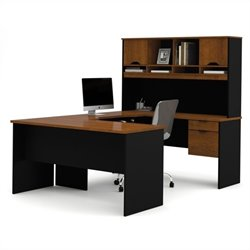 Pemberly Row U Shape Desk in Tuscany Brown and Black