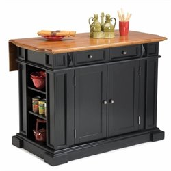 Pemberly Row Kitchen Island with Breakfast Bar in Black