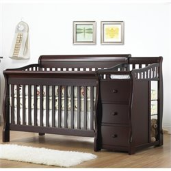Pemberly Row 4-in-1 Convertible Crib and Changer Set in Espresso