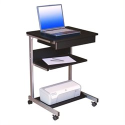 Pemberly Row Metal Computer Student Laptop Desk in Graphite