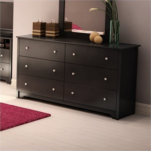 Pemberly Row 6 Drawer Double Dresser in Pure Black Finish