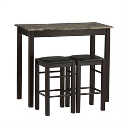 Pemberly Row 3 Piece Dining Set in Espresso