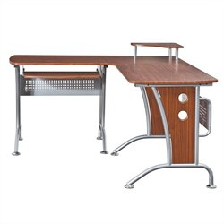 Pemberly Row L-Shape Wood and Metal Computer Workstation in Mahogany