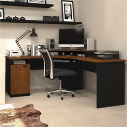 Pemberly Row Wood Home Office Corner Computer Desk in Tuscany Brown