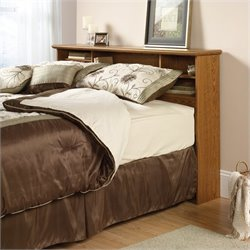 Pemberly Row Full Queen Bookcase Headboard in Oak