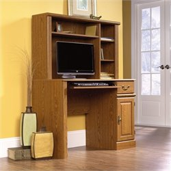 Pemberly Row Small Wood Computer Desk with Hutch in Carolina Oak
