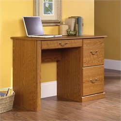 Pemberly Row Small Wood Computer Desk in Carolina Oak finish