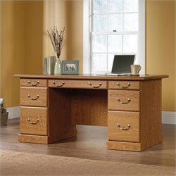 Pemberly Row Executive Desk in Carolina Oak