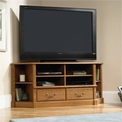 Pemberly Row Corner TV Stand in Carolina Oak