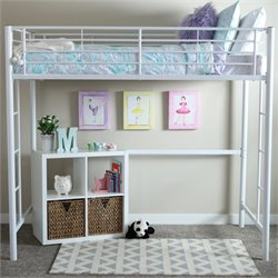 Pemberly Row Metal Twin Loft Bunk Bed in White Finish