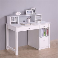 Pemberly Row Deluxe Solid Wood Desk with Hutch in White