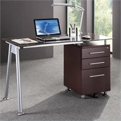 Pemberly Row Tempered Glass Top Computer Desk in Chocolate