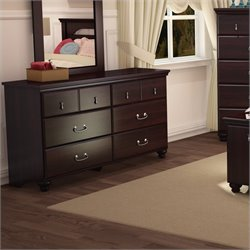 Pemberly Row Traditional 6 Drawer Double Dresser in Dark Mahogany Finish