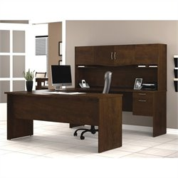 Pemberly Row U-Shape Wood Home Office Set in Chocolate