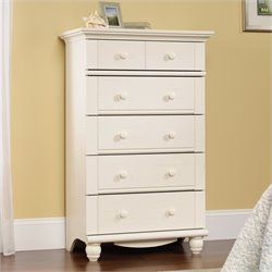 Pemberly Row 5-Drawer Chest in Antiqued White
