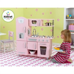 Pemberly Row Vintage Play Kitchen in Pink
