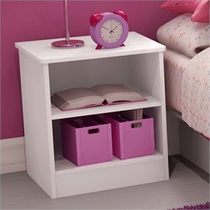 Pemberly Row Kids Nightstand in Pure White