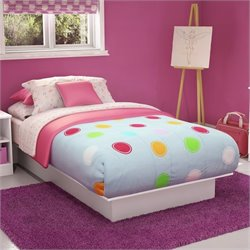 Pemberly Row Kids Twin Platform Bed in Pure White