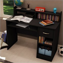 Pemberly Row Small Wood Computer Desk with Hutch in Pure Black