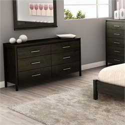 Pemberly Row 6 Drawer Double Dresser in Ebony Finish