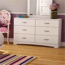 Pemberly Row 6 Drawer Double Dresser in Pure White Finish