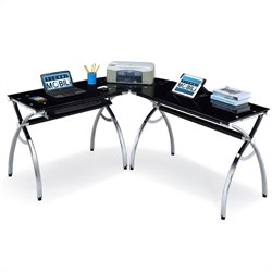 Pemberly Row L-Shaped Glass Desk with Chrome Frame in Black