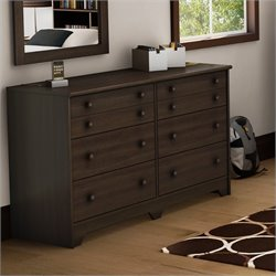 Pemberly Row 6 Drawer Shaker Style Dresser in Moka Finish