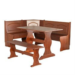 Pemberly Row Breakfast Corner Nook Table Set in Walnut