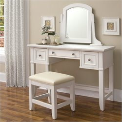 Pemberly Row Vanity and Vanity Bench in White Finish