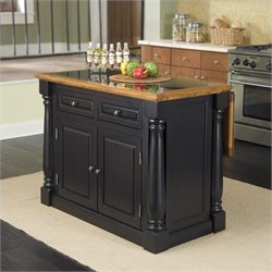 Pemberly Row Roll-Out Leg Granite Top Kitchen Island in Black and Oak