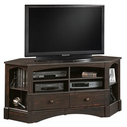 Pemberly Row Corner TV Stand in Antiqued Black