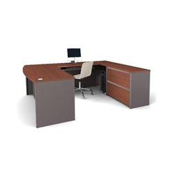 Pemberly Row U-Shape Home Office Set with 1 Oversized Pedestal in Bordeaux and Slate