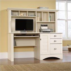 Pemberly Row Computer Desk with Hutch in Antiqued White