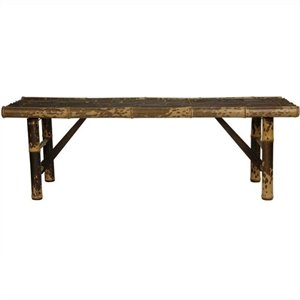 Pemberly Row Japanese Bamboo Folding Bench in Dark Stain