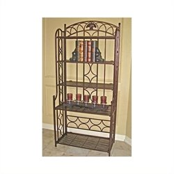 Pemberly Row Iron 5-Tier Bakers Rack in Bronze