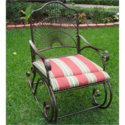 Pemberly Row Iron High-Back Patio Rocking Chair