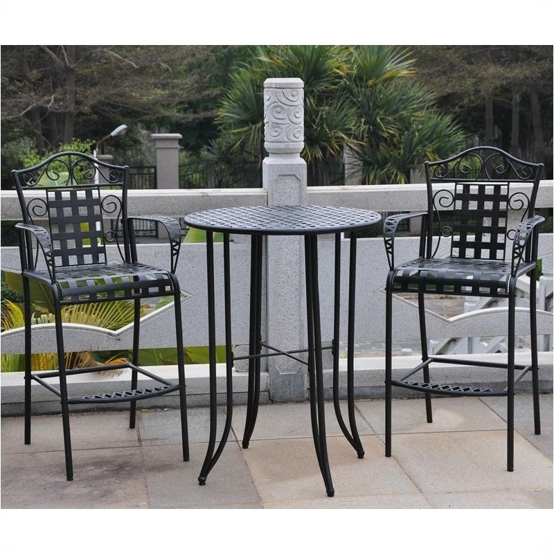 furniture patio bistro sets pemberly row 3 piece iron patio bar height
