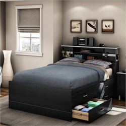 Pemberly Row Full Captain's Bed in Black Onyx