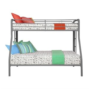 Pemberly Row Metal Twin over Full Bunk Bed in Silver