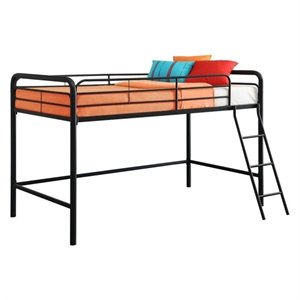 Pemberly Row Metal Junior Metal Twin Loft Bed in Black