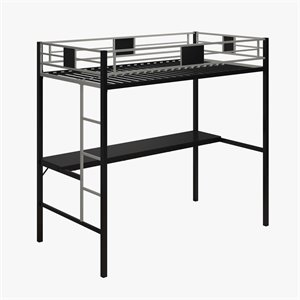 Pemberly Row Metal Twin Loft Bed in Black with Desk