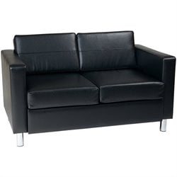Pemberly Row Loveseat in Black Faux Leather Vinyl